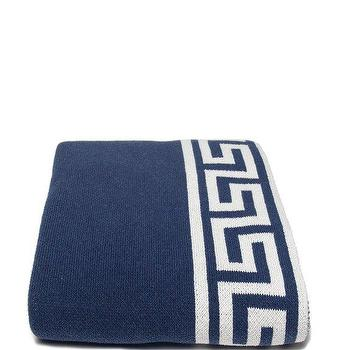 Decor/Accessories - in2green Greek Key Throw Slate | BLUEFLY - dark blue and white greek key throw blanket, dark blue greek key throw blanket, dark blue throw blanket with white greek key border,