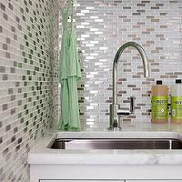 Laura Moss Photography - laundry/mud rooms - laundry room, laundry room backsplash, mosaic glass tiles, mosaic glass backsplash, laundry room sink, laundry room cabinets, laundry room faucet,