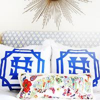 House Beautiful - bedrooms - upholstered headboard, hex headboard, white and blue headboard, blue hex headboard, blue hexagon headboard, monogram shams, personalized shams, white and blue shams,