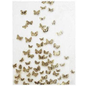 Art/Wall Decor - Butterflies Art - Gilded Ivory I Pier One - gold butterfly canvas, gold and white butterfly wall art, gilded butterfly wall decor,