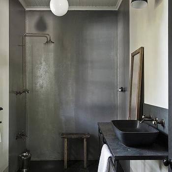 Tadelakt Shower, Modern, bathroom, The Satyagraha House