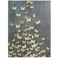 Art/Wall Decor - Butterflies Art - Steel Blue I Pier One - gold butterfly art, gold butterfly wall canvas, gilded butterfly wall decor,