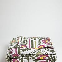 Bedding - Melange Home Twin size - green cotton 'Suzani' quilt set | BLUEFLY - purple and green suzani quilt, purple and green suzani coverlet, green and plum suzani quilt,