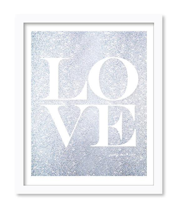 Wall Decor With Glitter : Silver glitter love print wall art by i etsy