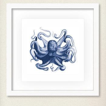 Art/Wall Decor - Antique Octopus Print Octopus Illustration by prettychicsf I Etsy - blue octopus art print, blue octopus illustration wall art, vintage blue octopus art print,