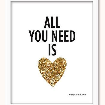 Art/Wall Decor - All You Need Is Love Print Gold Glitter Heart by prettychicsf I Etsy - all you need is love gold heart wall art, all you need is love gold glitter heart art print, all you need is love gold heart art print,