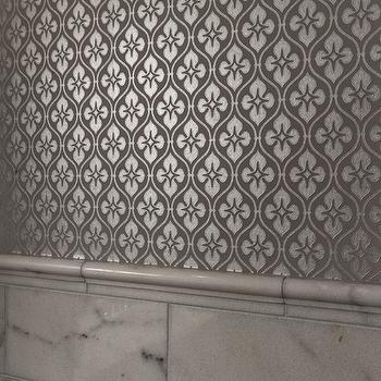 Silver Metallic Wallpaper Contemporary Bathroom