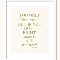 Art/Wall Decor - You Only Live Once Print Inspirational Art You by prettychicsf I Etsy - you only live once art print, pink and gold you only live once wall art, yolo pink and gold art print,