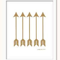 Art/Wall Decor - Arrow Art Print Arrows Valentine Wall Art Love by prettychicsf I Etsy - gold arrow art print, gold arrows wall art, matte gold arrow wall decor,