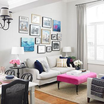 Pink Bench, Transitional, living room, Para Paints Fan Light Gray, Vanessa Francis Design
