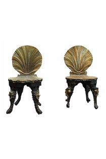 Seating - A PAIR OF GROTTO CHAIRS I Kelly Wearstler - black and gold grotto chairs, black chairs with gold shell back, black and gold shell backed chairs,