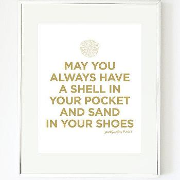Art/Wall Decor - Shell Art Print Beach May You Always Sea Shells by prettychicsf I Etsy - may you always have a shell in your pocket and sand in your shoes art print, beach lovers art print, gold and white sand in your pocket wall art,