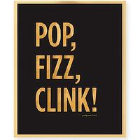 Art/Wall Decor - POP FIZZ CLINK Art Print Wedding Signage Bar by prettychicsf I Etsy - pop clink fizz art print, black and gold pop fizz clink art print, black and gold bar art,