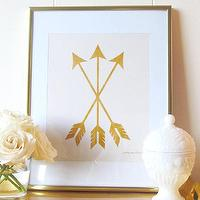 Art/Wall Decor - Gold Arrow Set Print Cream Love Cupid Nursery by prettychicsf I Etsy - gold crossed arrows art print, gold arrows nursery art print, pink and gold arrows wall decor,