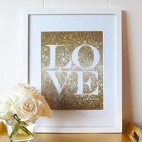Art/Wall Decor - Glitter Love Print Gold Glitter Love Glitter by prettychicsf I Etsy - gold glitter love art print, gold glitter love wall decor, gold and white love wall art,
