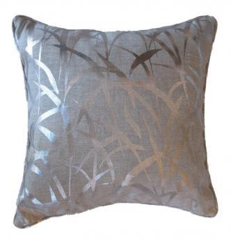 Pillows - Silver Grasses Pillow | Pieces - silver grass patterned pillow, silver grass leaf pillow, metallic silver grasses pillow,
