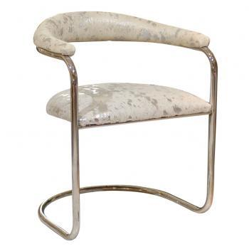 Seating - Round Back Hide Chair | Pieces - mid century chrome chair, mid century chrome chair with silver cowhide seat, white and silver cowhide chair,