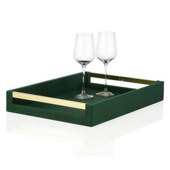 Decor/Accessories - Manta Tray | Z Gallerie - dark green faux shagreen tray, emerald green faux shagreen tray, green faux shagreen tray with gold handles,