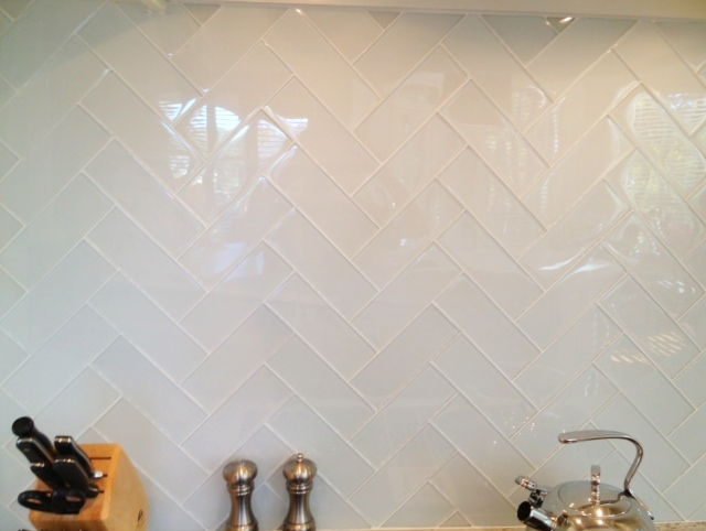 Glass Herringbone Tiles Contemporary Kitchen Milk