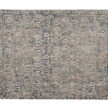 Rugs - Malia Paisley Printed Rug | Pottery Barn - blue and gray paisley rug, blue and taupe paisley rug, faded paisley rug,