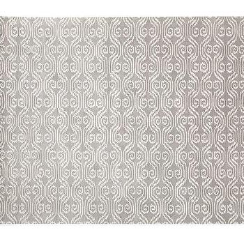 Rugs - Lizzie Rug - Gray Mist | Pottery Barn - gray ikat rug, gray and white ikat rug, gray ikat dhurrie rug,