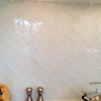 Glass Herringbone Tiles, Contemporary, kitchen, Milk and Honey Home