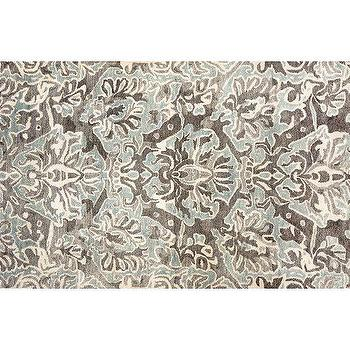 Rugs - Aubrey Rug - Gray | Pottery Barn - gray damask rug, gray and celadon damask rug, gray and blue damask rug,