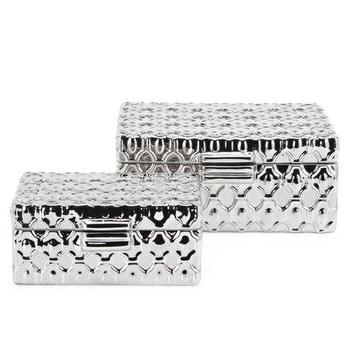 Decor/Accessories - Nexus Boxes - Set of 2 | Z Gallerie - metallic silver box, decorative metallic silver box, geometric metallic silver box,