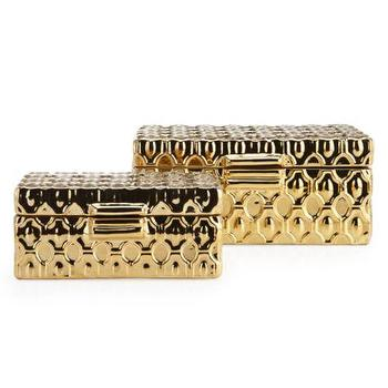 Decor/Accessories - Nexus Boxes - Set of 2 | Z Gallerie - metallic gold box, decorative metallic gold box, geometric metallic gold box,