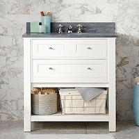 Bath - Classic Single Sink Console - White | Pottery Barn - white sink console with slate counter, white sink vanity with drawers and slate console, white sink console with open shelf and slate countertop,