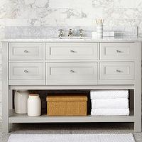 Bath - Classic Single Wide Sink Console - Gray | Pottery Barn - gray sink console, gray sink console with marble counter, gray sink vanity with drawers and marble counter,