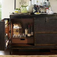 Storage Furniture - Ludlow Trunk Bar Cabinet | Pottery Barn - steamer trunk bar cabinet, vintage trunk bar cabinet, steamer trunk bar,