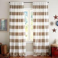 Window Treatments - PB Classic Stripe Drape, Set of 2 | Pottery Barn - taupe and white striped drapes, taupe and white striped curtains, taupe and white horizontal striped drapes, taupe and white striped curtain panel,
