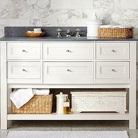 Bath - Classic Single Wide Sink Console - White | Pottery Barn - white sink vanity with drawers, white sink console with drawers and slate countertop, white single sink console with shelf and slate counter,
