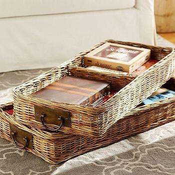 Decor/Accessories - Caden Square Ottoman Basket | Pottery Barn - woven ottoman basket, woven basket tray, rattan ottoman tray,