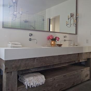 Eric Olsen Design - bathrooms: salvaged wood washstand, salvaged wood vanity, salvaged wood double washstand, salvaged wood double vanity, wall mounted faucets, gray framed mirror, gray tiled floor,
