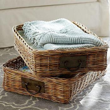 Decor/Accessories - Caden Rectangular Ottoman Basket | Pottery Barn - woven ottoman basket, woven basket tray, rattan ottoman tray,