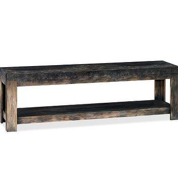 Storage Furniture - Conway Long Media Stand | Pottery Barn - industrial console media stand, weathered media stand, weathered wooden media console,