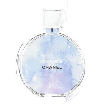 Art/Wall Decor - Chanel Chance purple and blue perfume illustration by RKHercules I Etsy - blue and purple chanel art, chanel perfume bottle watercolor, chanel perfume illustration,