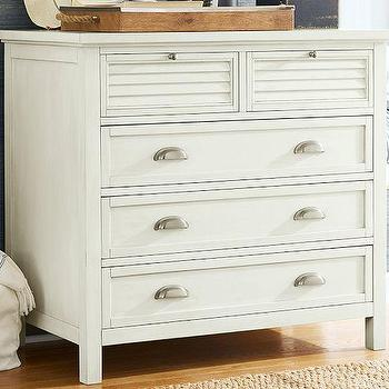 Storage Furniture - Coastal Shutter Dresser | Pottery Barn - white louver drawer dresser, white coastal dresser, white dresser with cup pull hardware, white shuttered dresser with cup pull hardware,