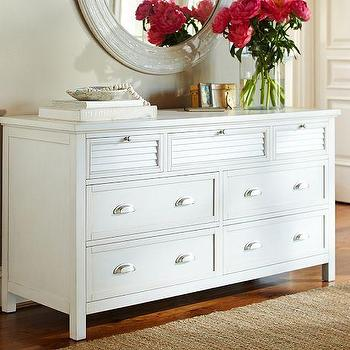 Storage Furniture - Coastal Shutter Extra-Wide Dresser | Pottery Barn - white louver front dresser, white coastal dresser, white shuttered drawer dresser,