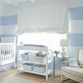 Eric Olsen Design - nurseries - stripe nursery, stripe nursery ideas, striped nursery, striped nursery ideas, boy nursery, boy nursery ideas, white and blue nursery, changing table, white changing table, changing table under window, changing table below window, changing table with shelf, changing table with shelves, crib, traditional crib, horizontal striped walls, horizontal stripe walls, french nursery rocker,