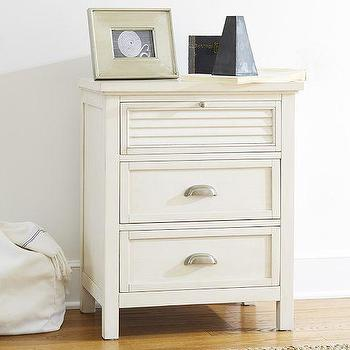 Storage Furniture - Coastal Shutter Bedside Table | Pottery Barn - shuttered drawer bedside table, shuttered drawer nightstand, white louver front bedside table, white louver front nightstand, white coastal nightstand with cup pull hardware,