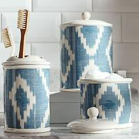 Bath - Ikat Bath Accessories | Pottery Barn - blue ikat toothbrush holder, blue ikat bathroom canister, blue and white ikat bath accessories,