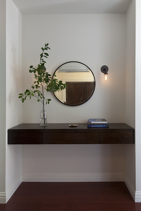 Floating Console Table Contemporary Entrance Foyer