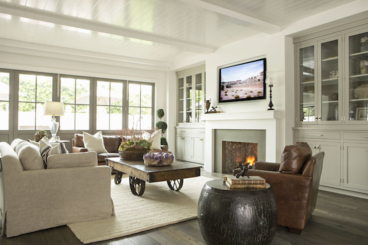 Glass Doors On Built Ins Transitional Living Room