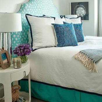 Liz Carroll Interiors - bedrooms - turquoise headboard, white and turquoise headboard, turquoise patterned headboard, turquoise bedskirt, turquoise bed skirt, turquoise blue bedskirt, serena and lily bedding, navy border bedding, navy border shams, navy border bedding, oval nightstand, white oval nightstand, bungalow 5 nightstand 1 drawer nightstand, herringbone throw, teal herringbone throw, rope frame, rope picture frame, mercury glass lamp,