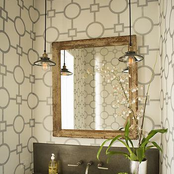 Eric Olsen Design - bathrooms - geometric wallpaper, phillip jeffries wallpaper, powder room, wood beams, powder room wood beam, wood beam powder room, reclaimed mirror, reclaimed wood mirror, black sink, black floating sink, powder room sconces, Union Square Wallpaper,