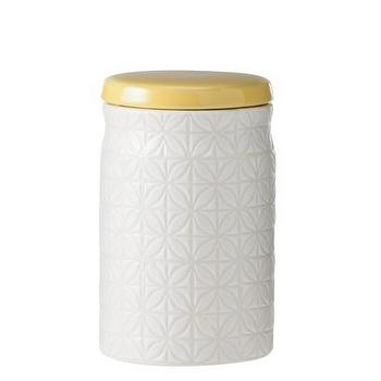 Decor/Accessories - Threshold Ceramic Mini Food Canister I Target - white geometric canister with yellow lid, modern white ceramic canister, contemporary white ceramic canister with yellow lid,