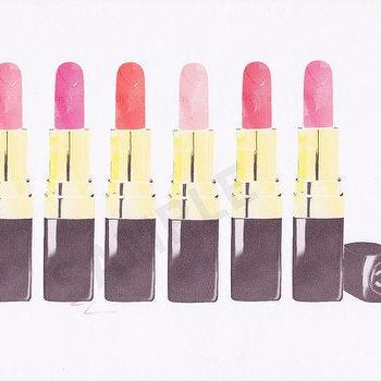 Art/Wall Decor - Multiple Chanel Lipsticks fashion illustration by by RKHercules I Etsy - chanel lipstick art print, chanel lipstick illustration art, chanel lipstick collection wall art,